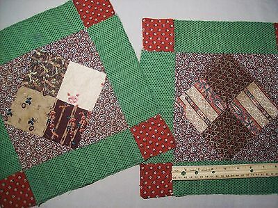 "Antique Quilt Blocks Pre Civil War fabrics Primitives/Hand sewn  2 pcs 13"" (1-2)"