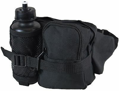 Black Tactical WAIST Pack and Bottle - Water Bottle Holder Bum Bag Fanny Hiking