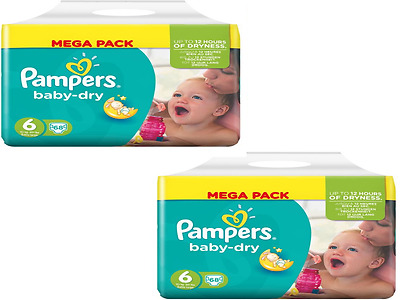 128 couches Pampers BABY DRY Taille 6 (15+kg) (2 paquets de 68 couches) à 37,99€