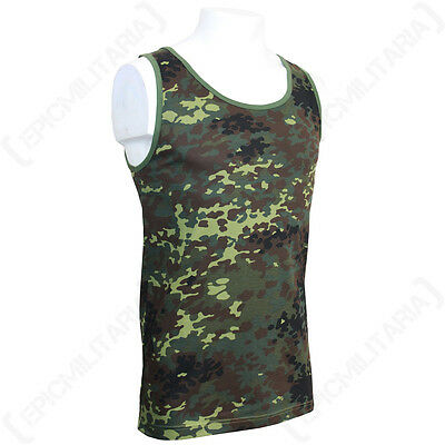 FLECKTARN CAMO TANK TOP - Military Army Combat Cotton Vest Sleeveless All Sizes