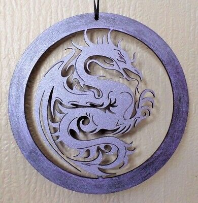 DISTRESSED PURPLE DRAGON Wall Hanging Game Of Thrones Mother of Dragons GUIDE