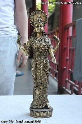 Indian Buddhism Bronze Copper Vishnu Stand Four Armed Kwan-yin Lakshmi Statue