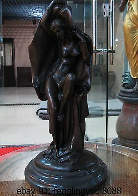 Art Decor Marble Base Copper Bronze Figurine Nude Woman Figure Statue Sculpture