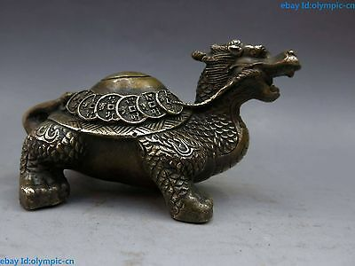 China brass copper lucky Feng Shui money Dragon turtle Sculpture Statue