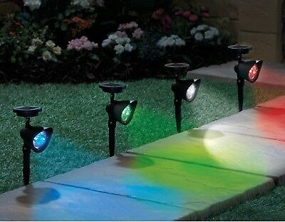 Solar Powered LED Light Multi-Colour Outdoor Garden Border Spotlights & Remote
