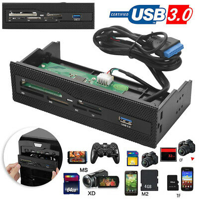 "5.25"" USB 3.0 Smart Internal Card Reader PC Front Panel for 5.25"" Drive Bay OB"