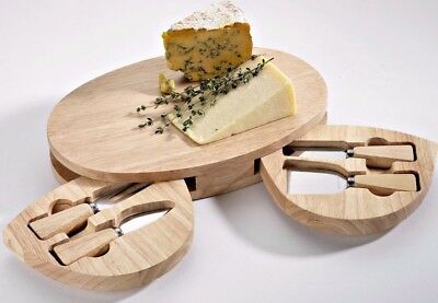 Occasion Large Oval Wooden Cheese Board with 2 Drawers and 4 Cheese Knives