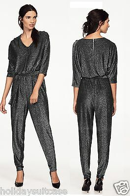 Size 16-20 Ladies womans shimmer glitter sparkle black party evening jumpsuit