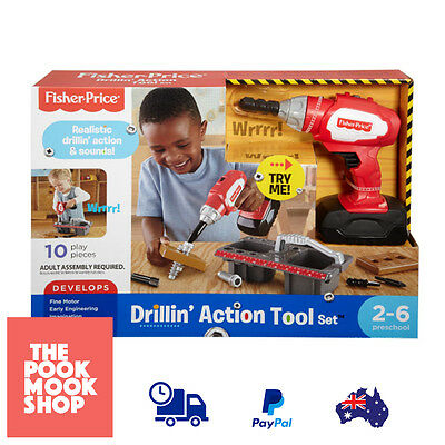 Drillin' Action Tool Set Drill Toy Play Kids Power Tools Pretend Toys Boys Red