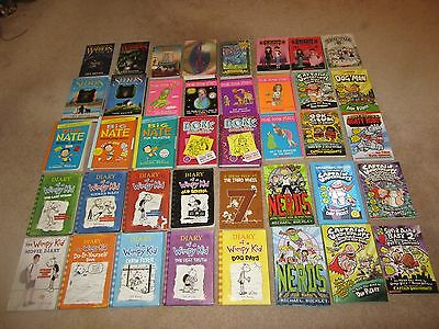 Lot of 40 Diary Wimpy Kid Dork Diaries Nerds Big Nate Capt Underpants Warriors +