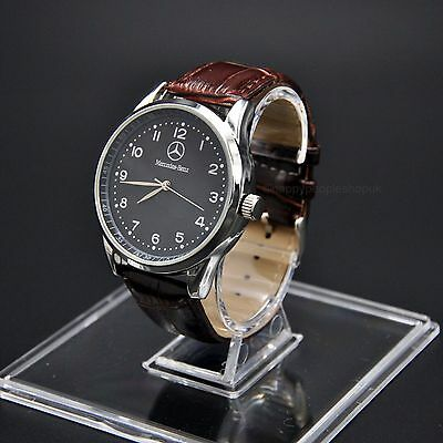 Mercedes Benz Mens Watch Stainless Steel Brown Leather Strap - Black Face - UK