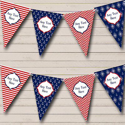 White Blue Red Anchor Nautical Sailing Beach Seaside Personalised Bunting Banner