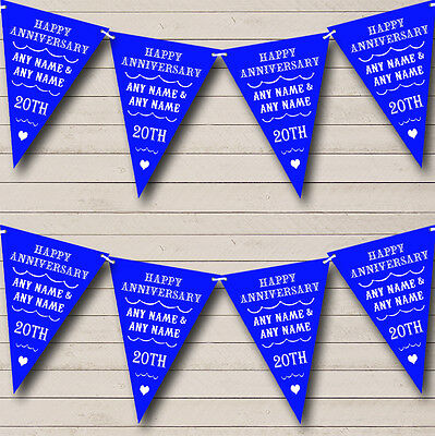 Vintage Text Any Year Royal Blue Wedding Anniversary Party Bunting Banner