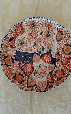 Lovely Old Imari Plate With Fluted Edge