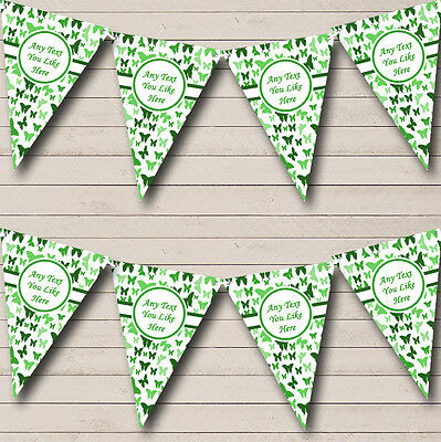 Beautiful Green Butterfly Shabby Chic Garden Tea Party Bunting Banner