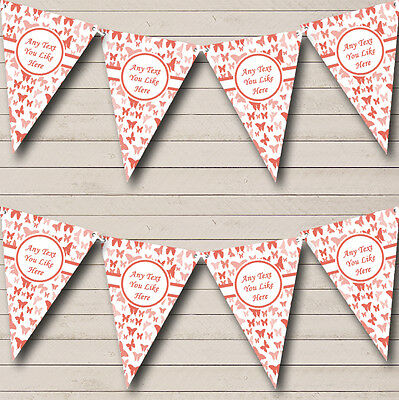 Beautiful Coral Butterfly Shabby Chic Garden Tea Party Bunting Banner