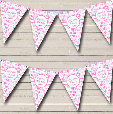 Beautiful Pink Butterfly Shabby Chic Garden Tea Party Bunting Banner