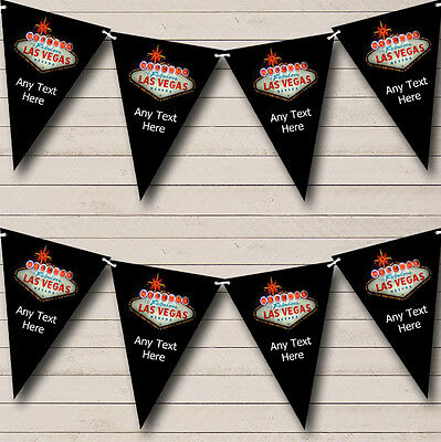 Las Vegas Black Personalised Birthday Party Bunting Banner Garland