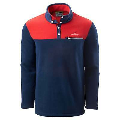 Kathmandu Pelorus Mens High Neck Snap Button Warm Outdoor Fleece Pullover Navy