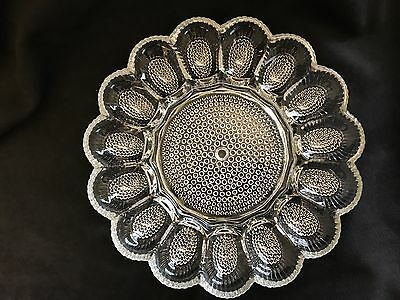Vintage American Concord Egg Plate Deviled Eggs Brockway Glass Co. Clear Elegant