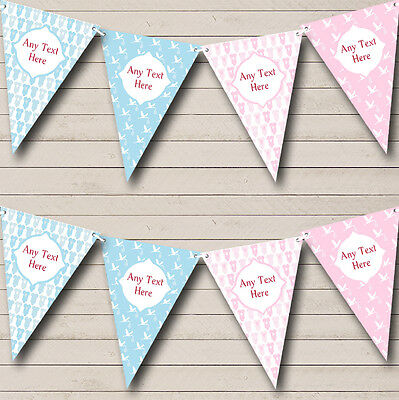Blue Pink Boy And Girl Personalised Christening Baptism Bunting Banner Garland