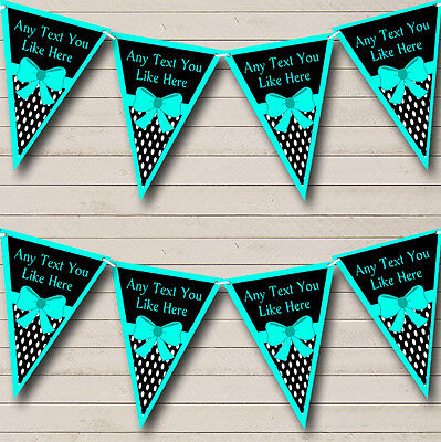 Turquoise Teal Green /& Gold Vintage Personalised Birthday Party Bunting