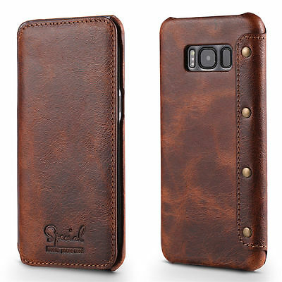 For Samsung Galaxy S8/S8+ Plus Genuine Leather Wallet Case Card Flip Cover Retro
