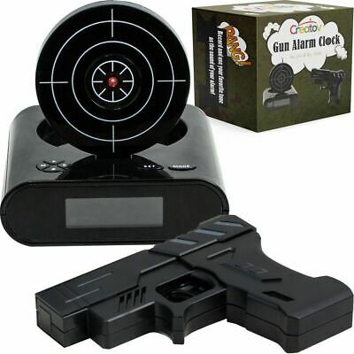 Target Alarm Clock With Gun, Infrared target and Realistic Sound Effects-Black