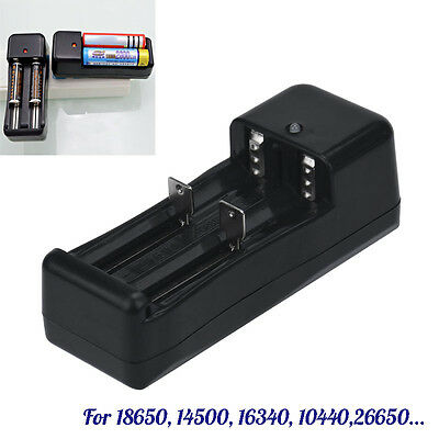 US Universal Dual Battery Charger For 18650 16340 26650 Rechargeable 3.7V Li-ion