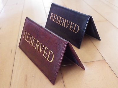 2 X RESERVED | menu table top sign reserve catering | cafe pub hotel RESTAURANT