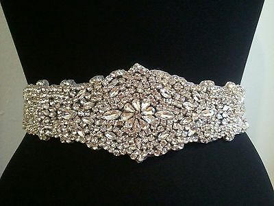 "Wedding Bridal Sash Belt, Crystal Wedding Dress Sash BelT = 12 1/2"" LONG"