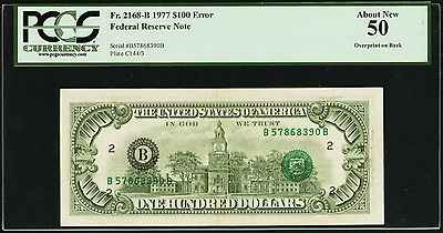 1977 $100 FEDERAL RESERVE ERROR NOTE Overprint On Back Printing Rare PCGS 50