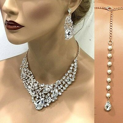 Rose Gold/ Gold/ Silver Bridal Jewelry Set, Wedding Necklace Earring Set