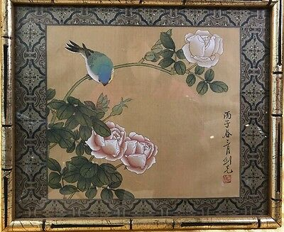 Print Oriental Asian Chinese Japan Frame Bird on Branch Flowers