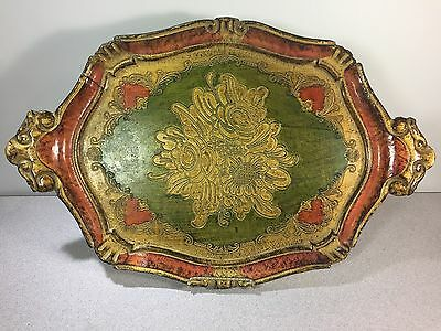 Vintage Decorative Florentine Florentia Wooden Serving Tray Hand Made In Italy