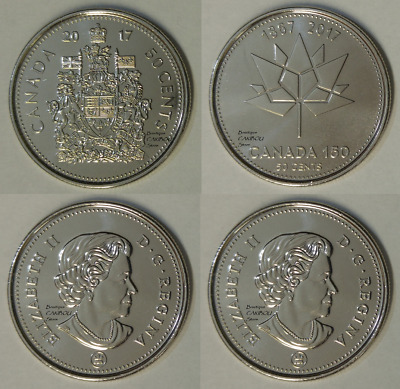 2017 Canada 50 Cents Coat of Arms and 150th Anniversary BU