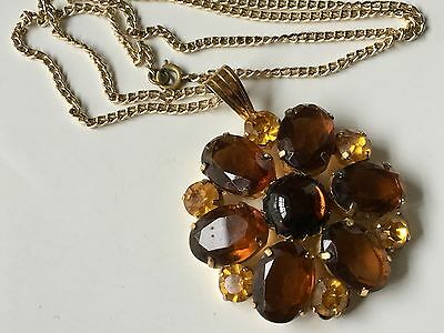 Vintage RETRO Brown & Gold Tone Glass Medallion Style Pendant & Necklace 22inch