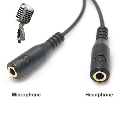 3.5mm Stereo Audio Male to 2 Female Headset Microphone Y Splitter Cable Adapter