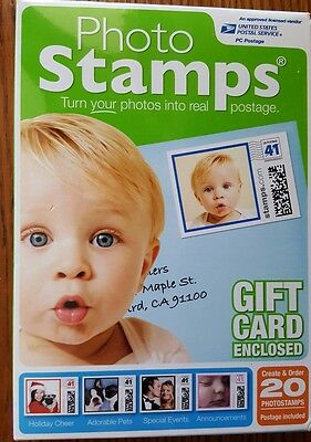 PHOTO STAMPS with gift cards enclosed 20-photostamps postage included
