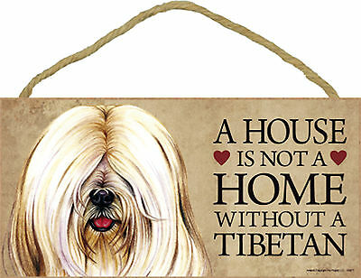 A house is not a home without a Tibetan Wood Puppy Dog Sign Plaque Made in USA