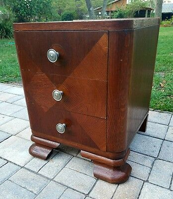 1930`S 40`s ART DECO NIGHTSTAND  END TABLE w/ DRAWERS BURLED MAHOGANY INLAID
