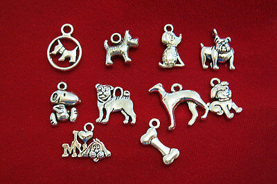 """10pc set """"dogs"""" charms in antique silver style (BC844)"""