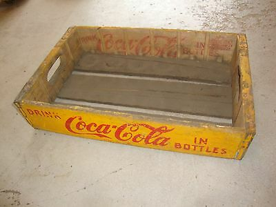 Vintage 1937 Wooden Yellow Coca-Cola Coke Soda Pop Bottle Crate Carrier Box