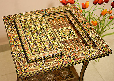 """25"""" Syrian Mosaic Hand Made Games Table chess table & backgammon & poker set"""