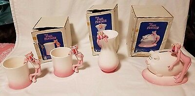 Lot of 4 Rare Vintage Royal Orleans The Pink Panther Ceramic Collectibles Japan