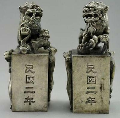 A pair of China collection Tibet silver Unicorn Foo Dogs statues PAPERWEIGHT