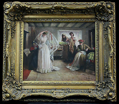 Oil painting Original artwork Vintage wedding theme with antique-style frame
