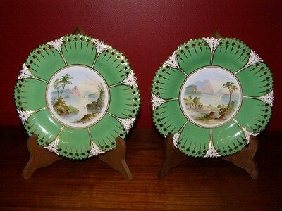 Antique Pair Hand Painted Landscape Plates w/ Green & Gold Border 1830s Ridgway?