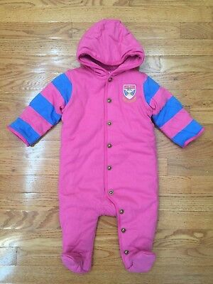 NWT Polo Ralph Lauren Baby Girls 100% Cotton Soft Bunting Snowsuit Size 9M Pink