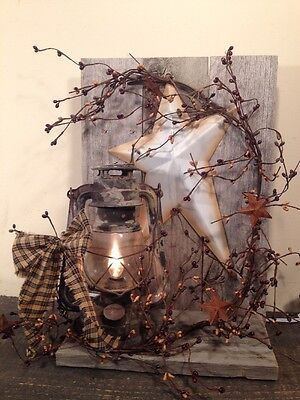 Country Primitive Electric Metal Lantern Decoration Berry's Home Decor